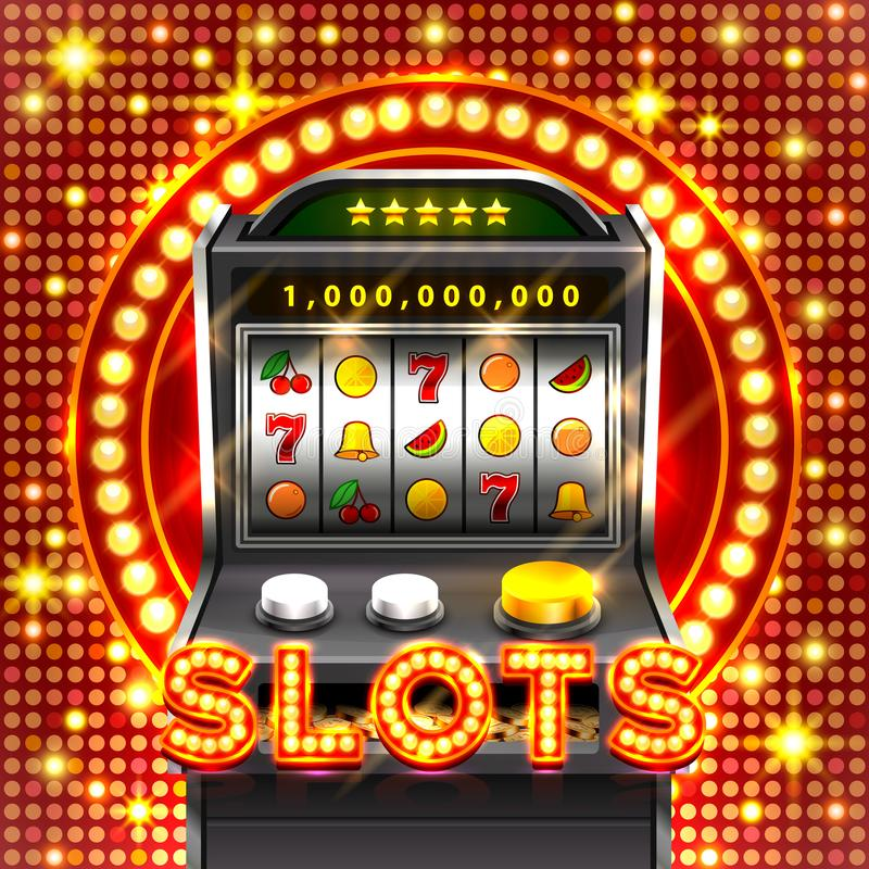 3d slots machine wins the jackpot. vector illustration