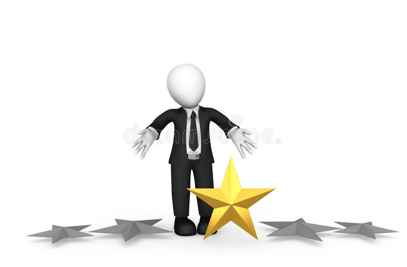 3d small business people. Loser with single star rating stock illustration