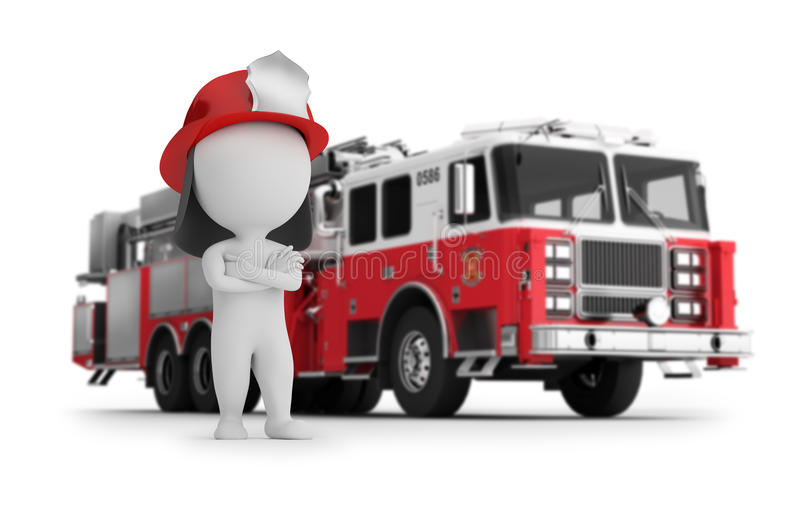 3d small people - fireman and fire truck stock illustration