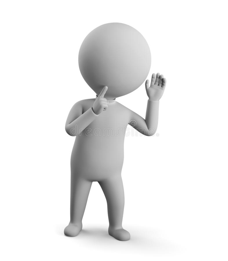3D small man - eavesdropping stock illustration