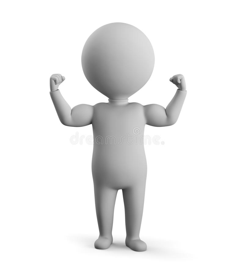 3D small man - shows muscles stock illustration