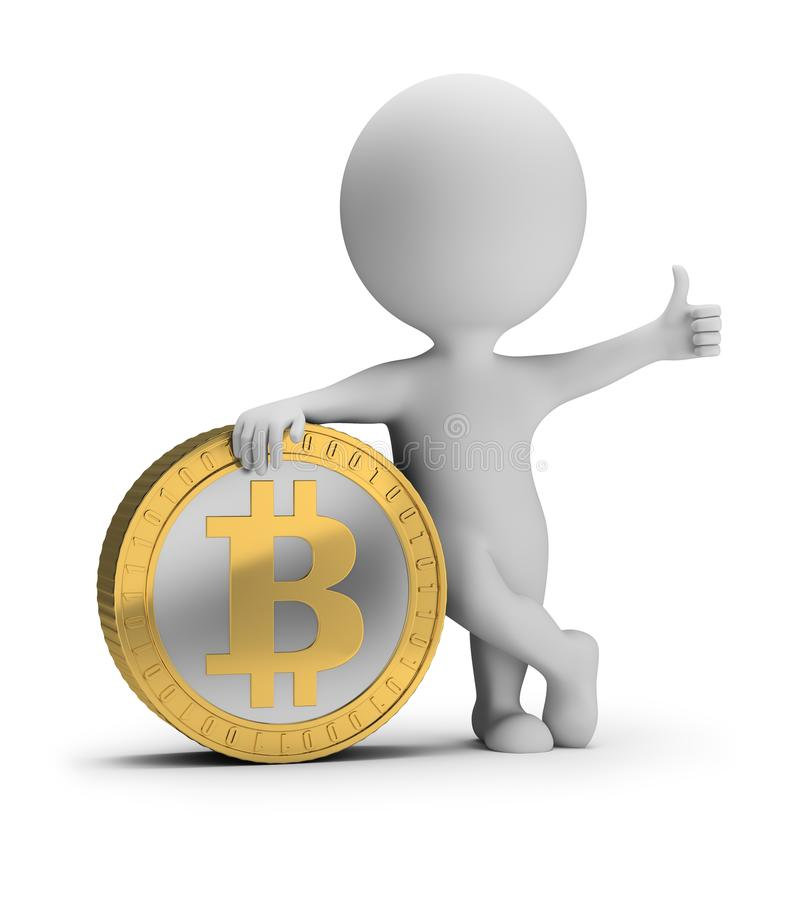 3d small people - bitcoin stock illustration