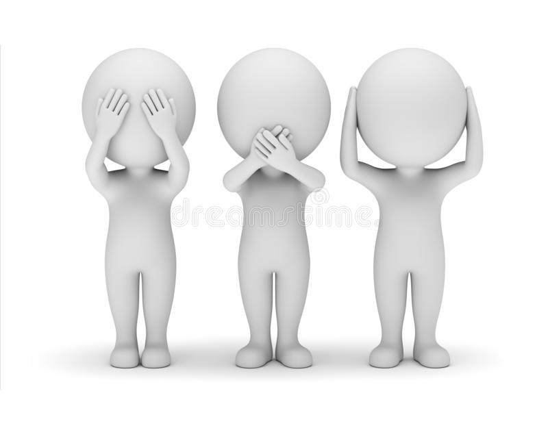 3D Small People - Blind, Mute, Deaf vector illustration