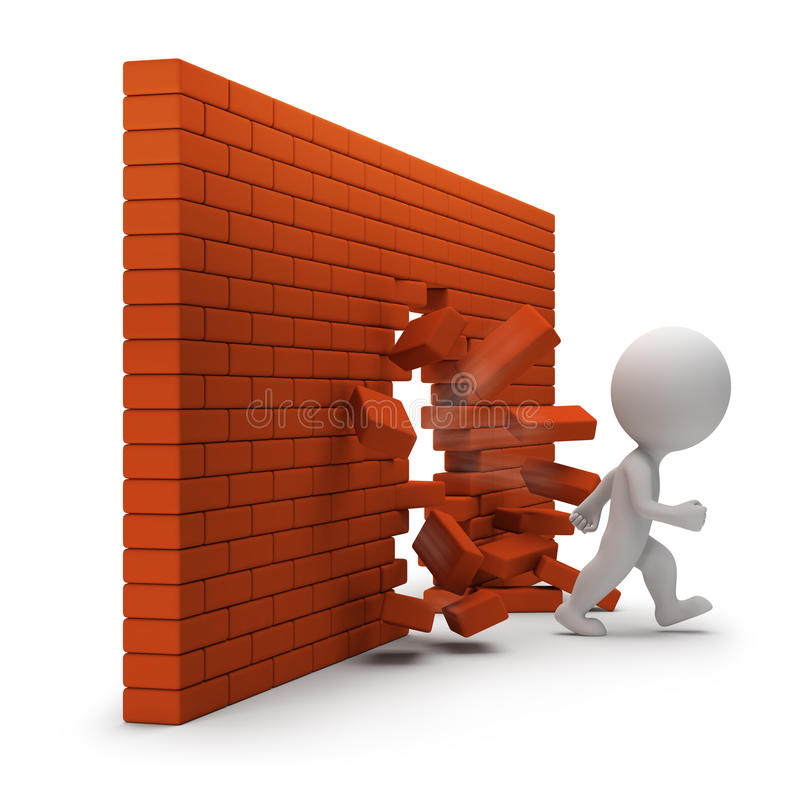 3d small people - through a brick wall stock illustration
