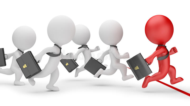 3d small people - business sprint. 3d image. White background royalty free illustration