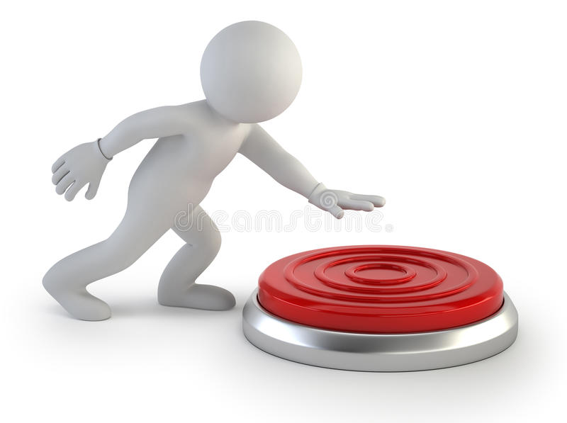 3d small people - button stock illustration