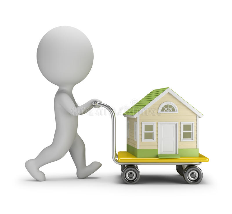 Download 3D Small People - Carries A House Stock Illustration - Illustration: 69243219