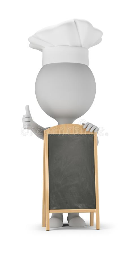 3d small people - cook and menu board. 3d small people - cook stands next to the menu board and shows a thumb up. 3d image. White background royalty free illustration