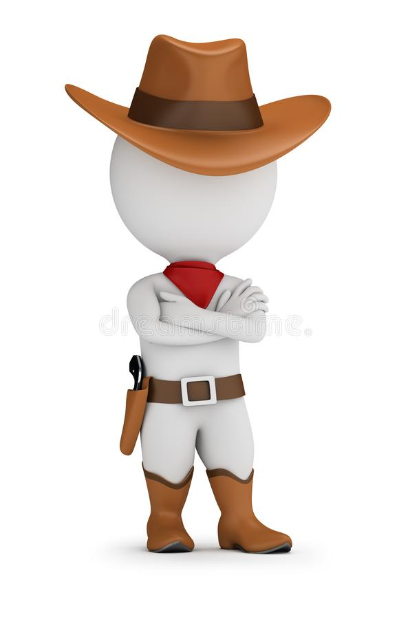 3d small people - cowboy. 3d small person - cowboy is standing in a confident pose with his arms folded across his chest. 3d image. White background stock illustration