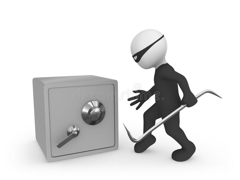 3d small people. Criminal vs bank safe... stock illustration