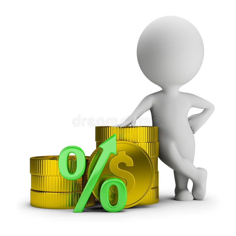 3d small people - deposit percentage royalty free illustration