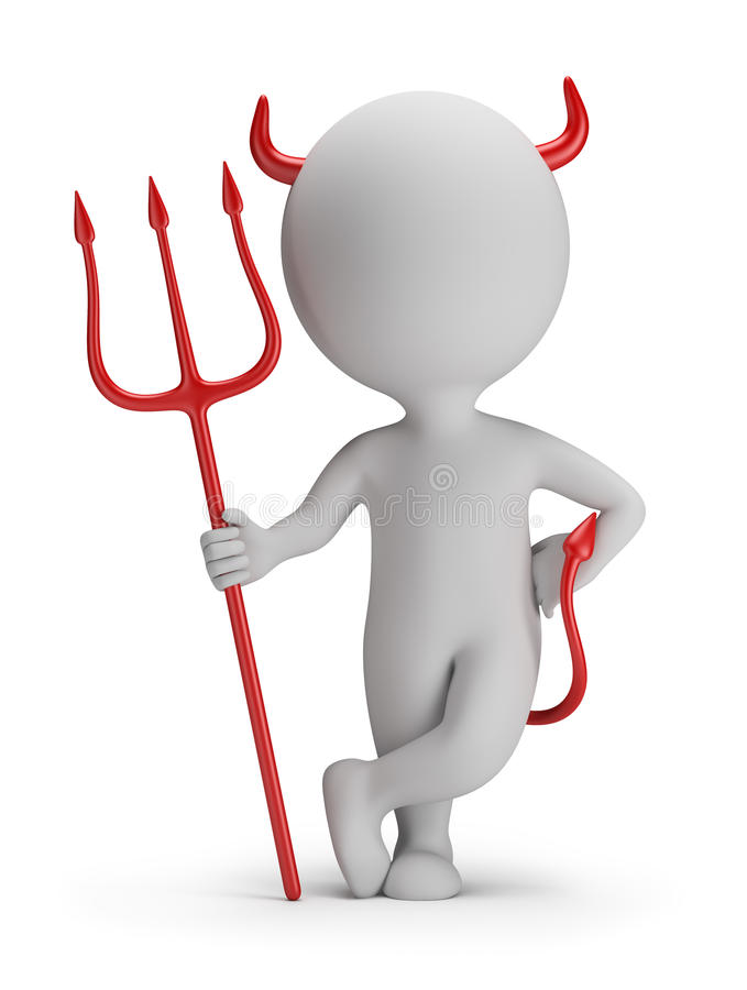 3d small people - devil stock illustration