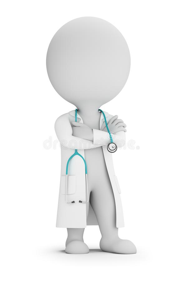 3d small people - doctor with stethoscope vector illustration