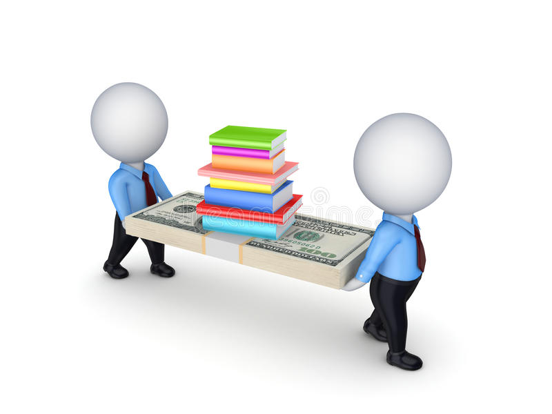 3d small people with dollars and stack pf books. royalty free illustration