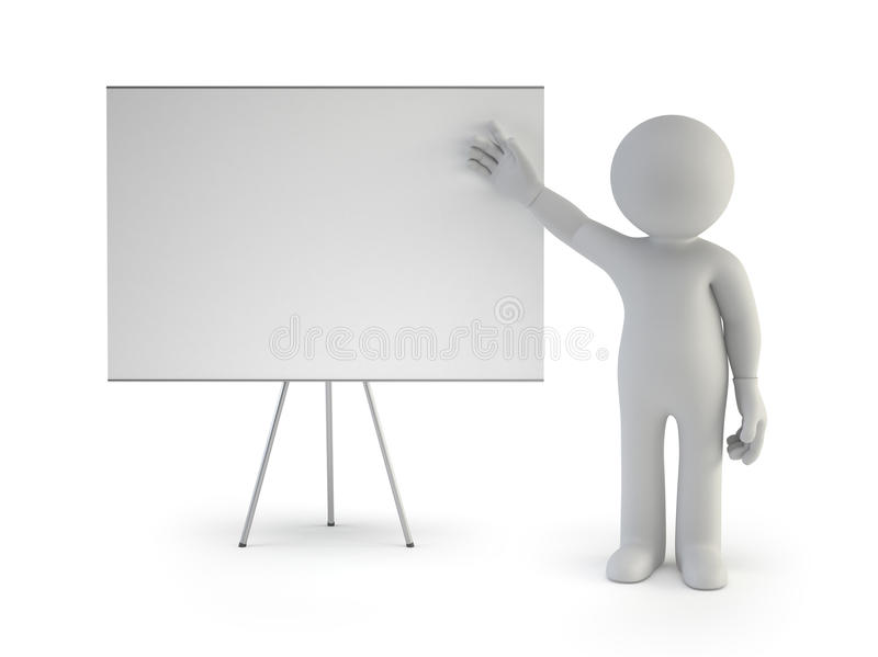 3d small people - with empty board. Isolated white background royalty free illustration