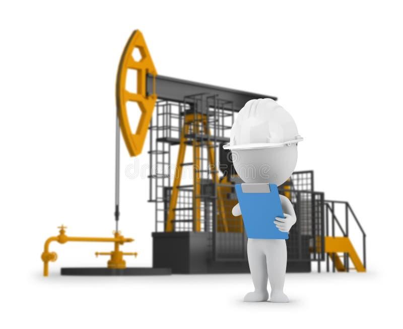 3d small people - engineer petroleum stock illustration