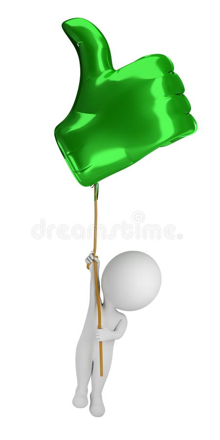 3d small people - flying in a balloon Like royalty free illustration