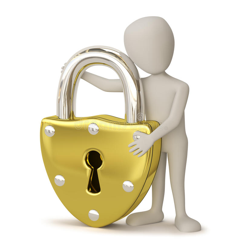 3D small people - Golden padlock. royalty free illustration