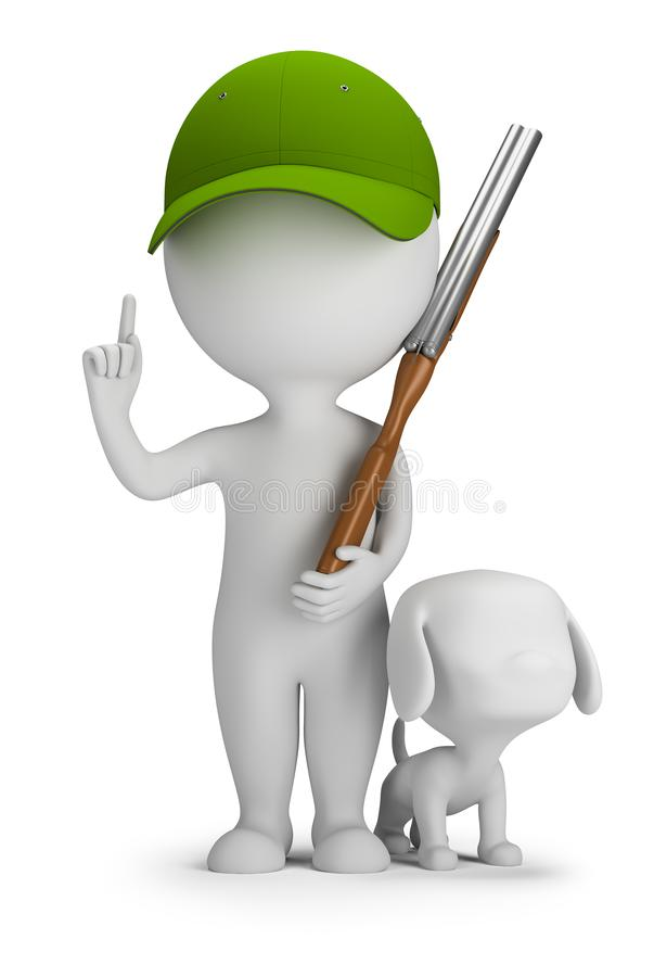 3d small people - hunter with a gun and a dog royalty free illustration