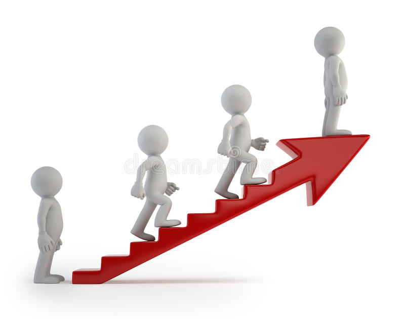 3d small people - Ladder of Success vector illustration