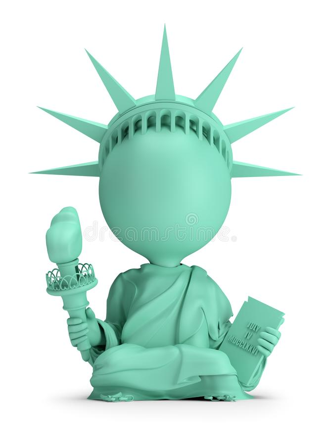 3d small people - meditating Statue of Liberty royalty free illustration