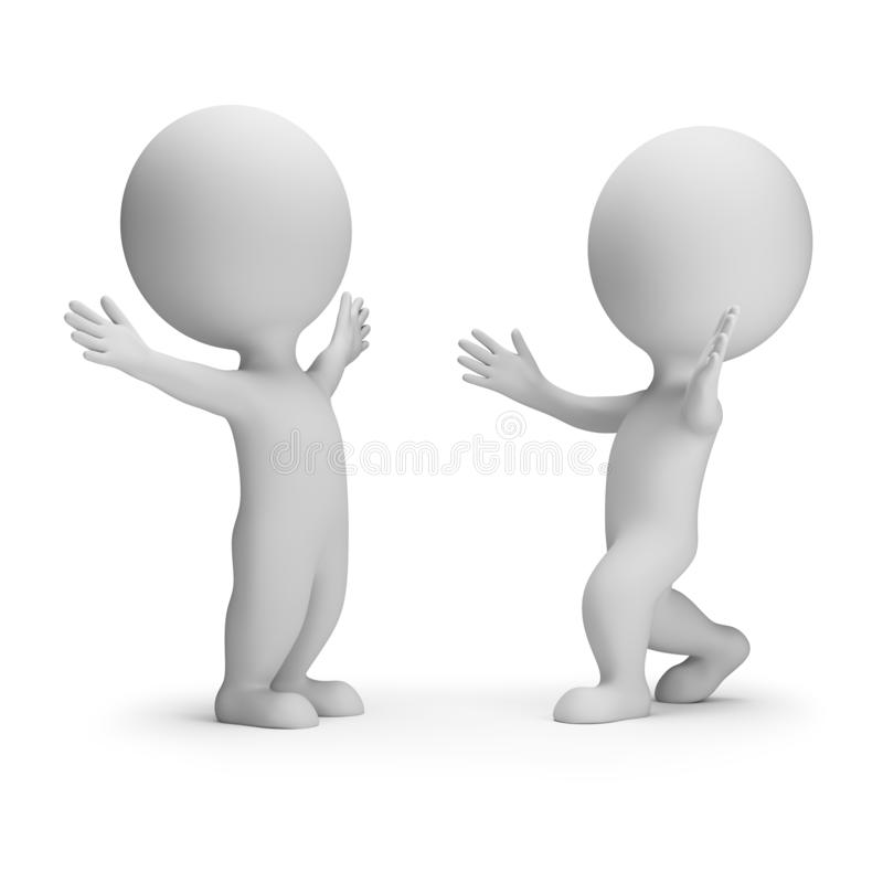3d small people - meeting two friends stock illustration