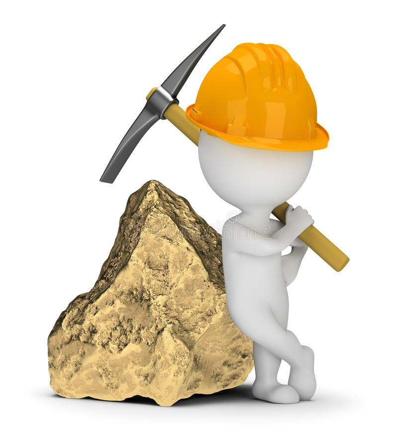 3d small people - miner next to a big gold nugget vector illustration