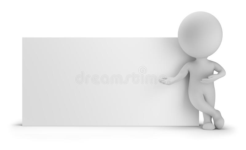 3d small people - next to an empty board royalty free illustration