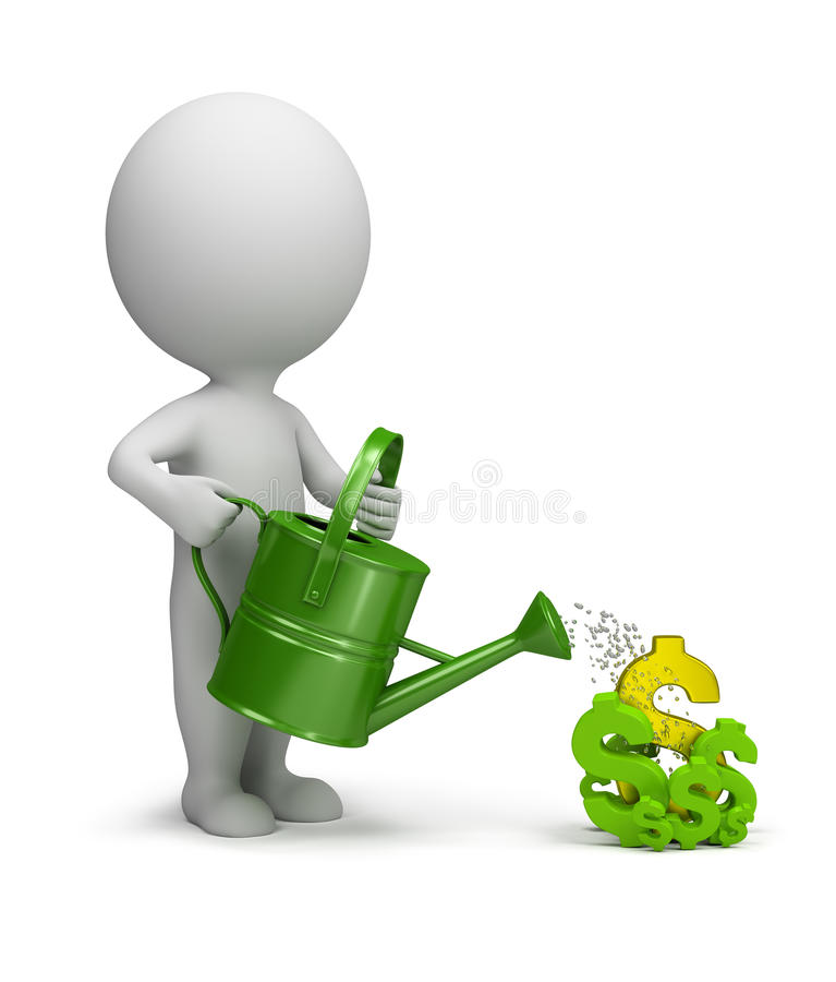 Download 3d Small People - Pours Dollars Stock Illustration - Image: 62825285