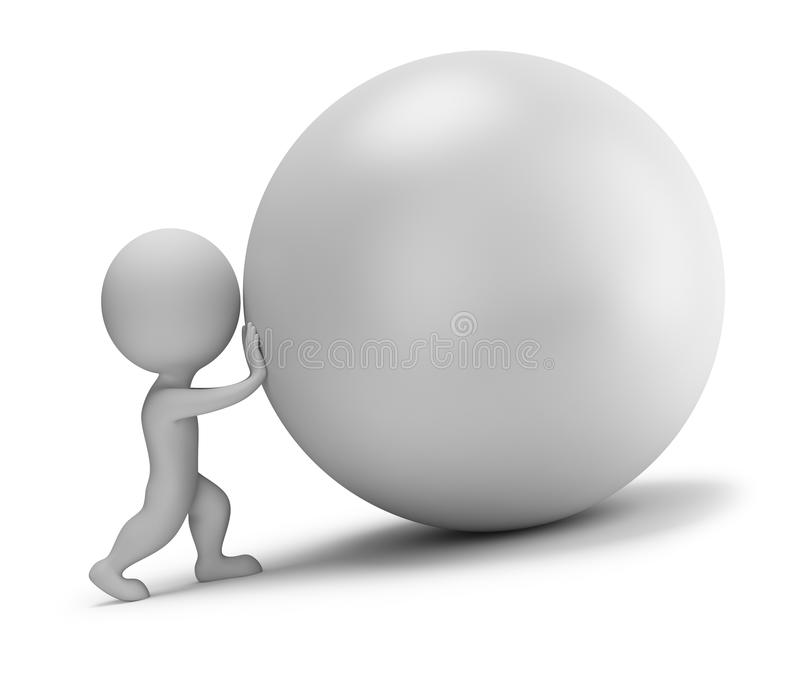 3d small people - pushes the ball. 3d small person - pushes the ball. 3d image. White background royalty free illustration