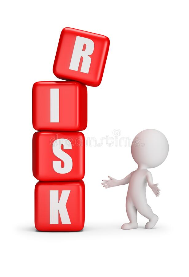 3d small people - risk. 3d small person stands next to falling cubes with the inscription risk. 3D generated image. White background vector illustration