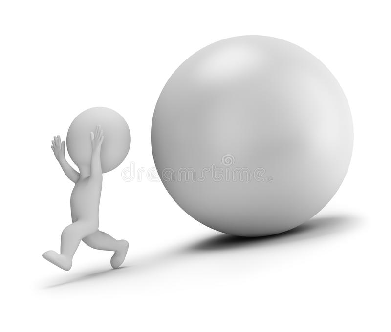 3d small people - runs away from the rolling ball stock illustration