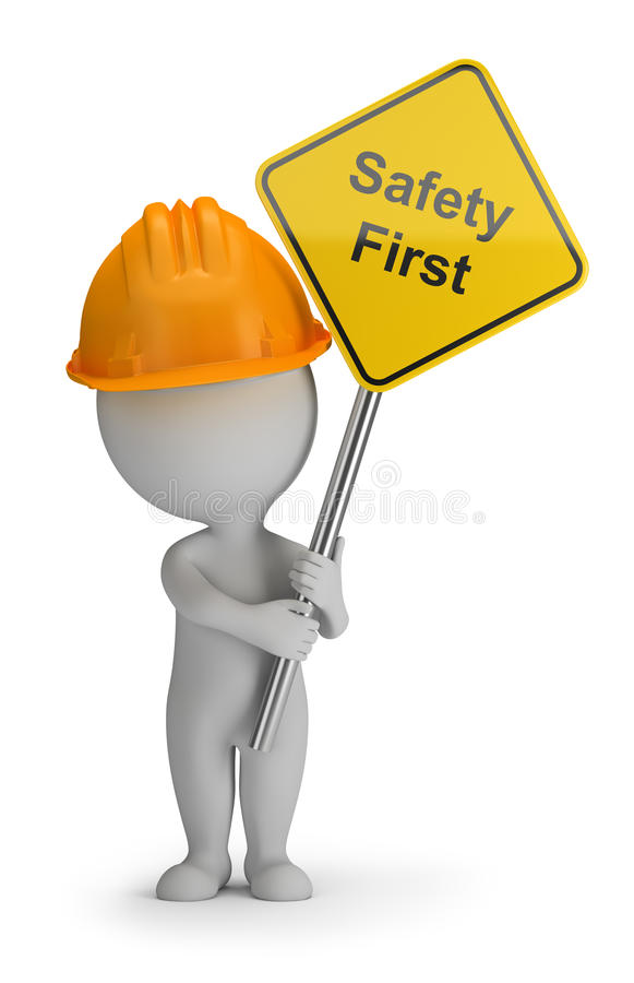 3d small people - safety first vector illustration