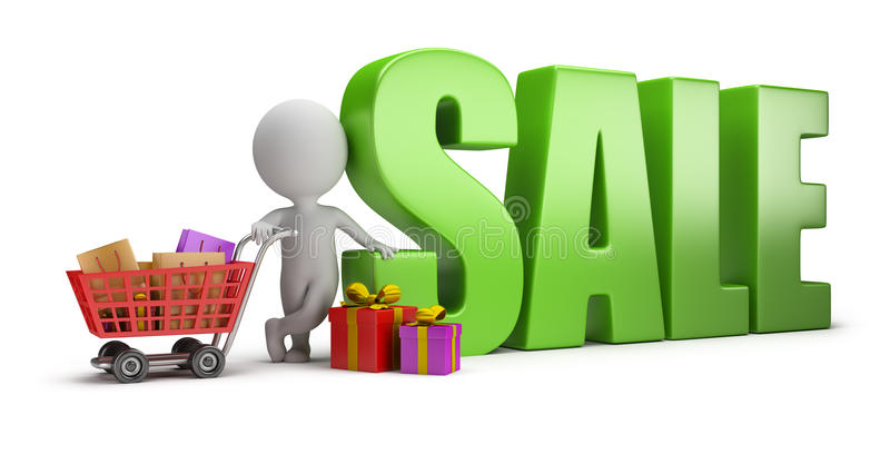 3d small people - sale stock illustration