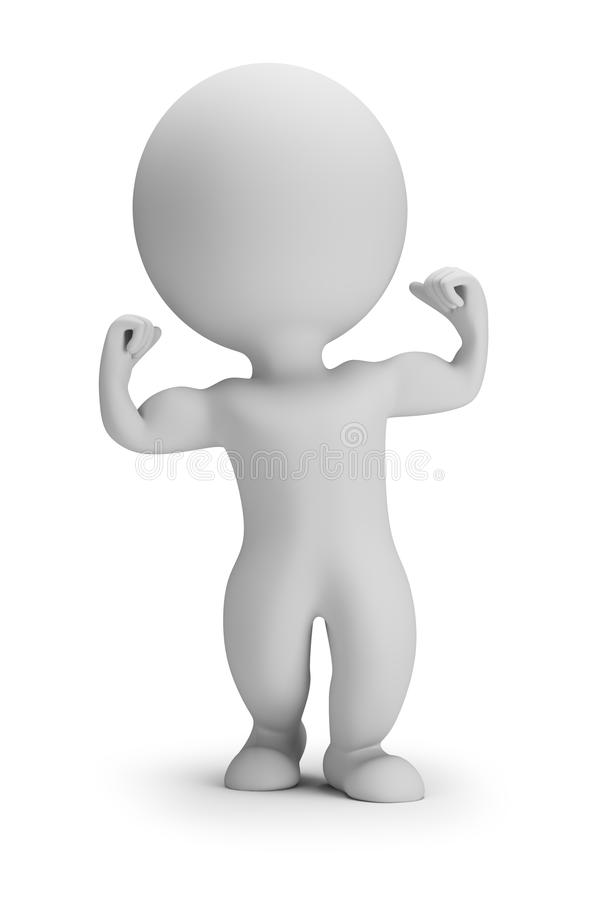 3d small people - shows muscles royalty free illustration