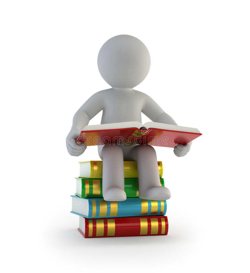 3d small people - sitting on the books royalty free illustration