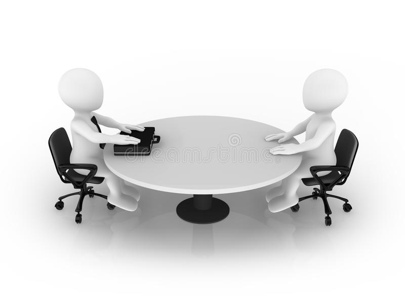 3d small people sitting at round table. Businessman and client. 3d rendered illustration stock illustration