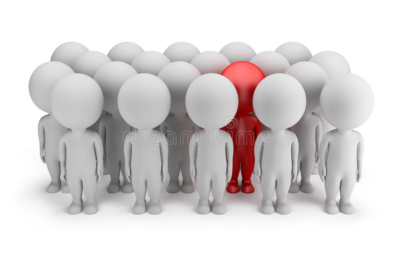 3d small people - stands out. 3d small person - stands out in a crowd of people in red. 3d image. White background stock illustration