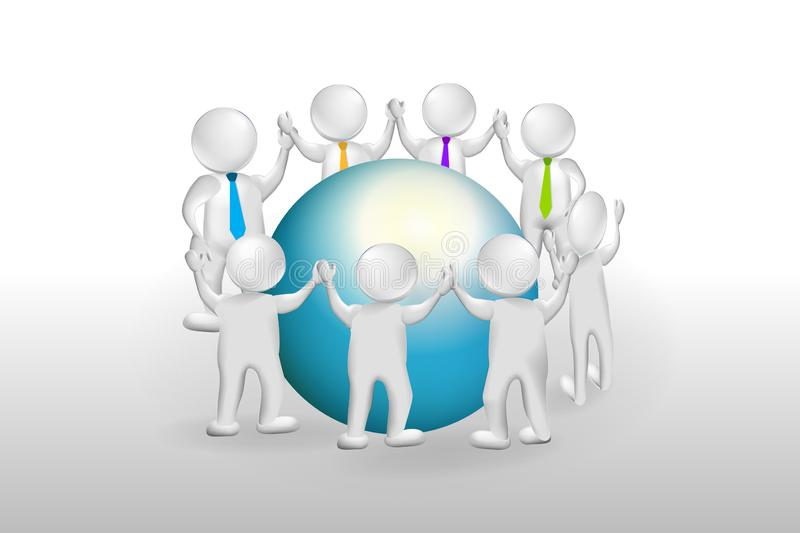 3d Small People around world. 3d Small People Teamwork. Peace On The Earth Vector Logo stock illustration