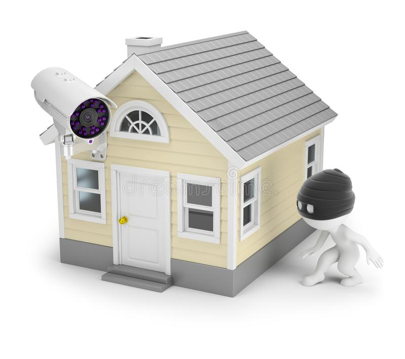 3d small people - thief and house vector illustration