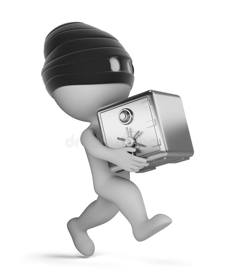 3d small people - thief with safe. 3d small person - running thief with a safe. 3d image. White background royalty free illustration