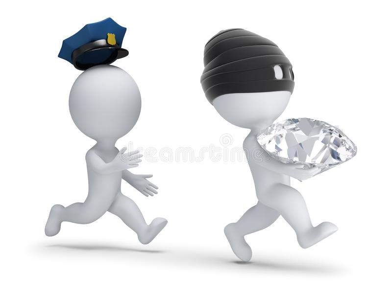 3d small people - thief stole the diamond royalty free illustration