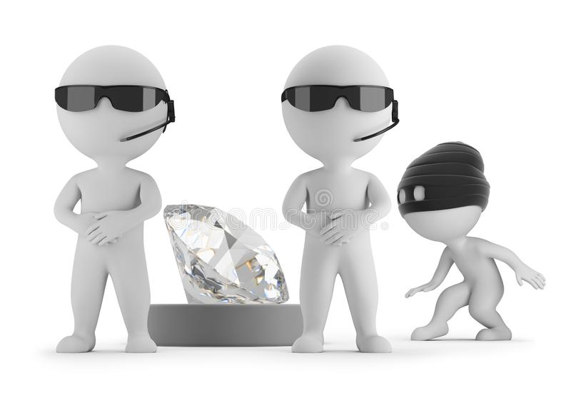 3d small people - thief wants to steal a diamond royalty free illustration