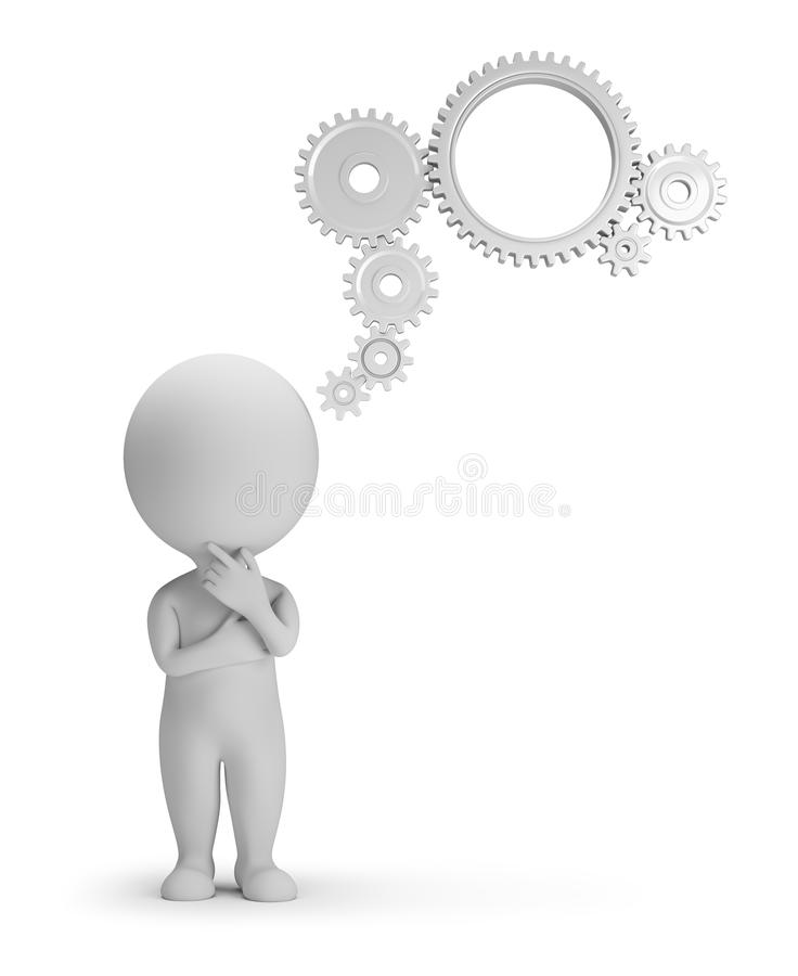 3d small people - thought mechanism royalty free illustration