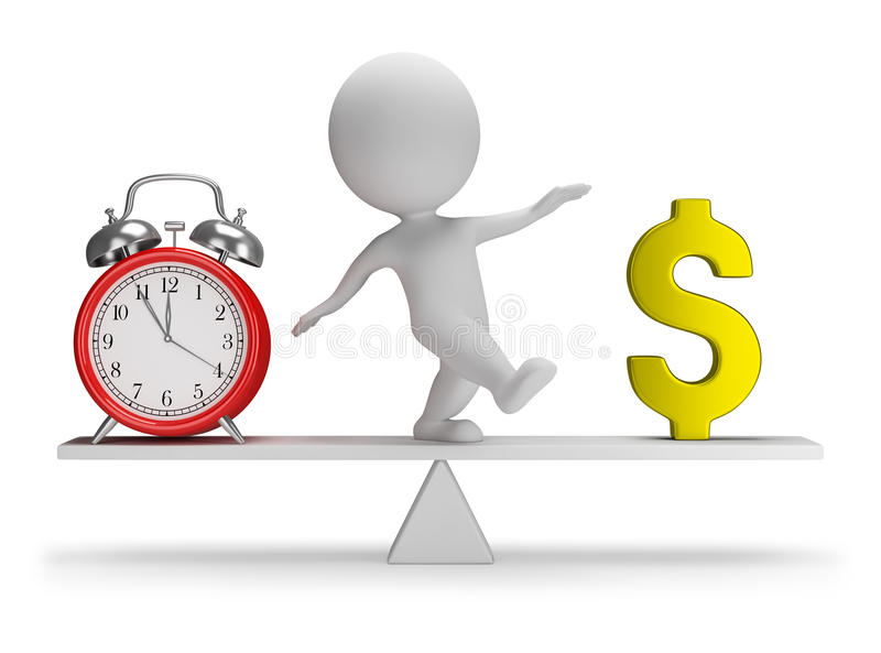 3d small people - time is money vector illustration