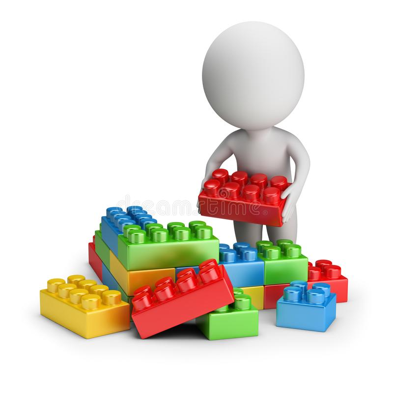 3d small people - toy blocks stock illustration