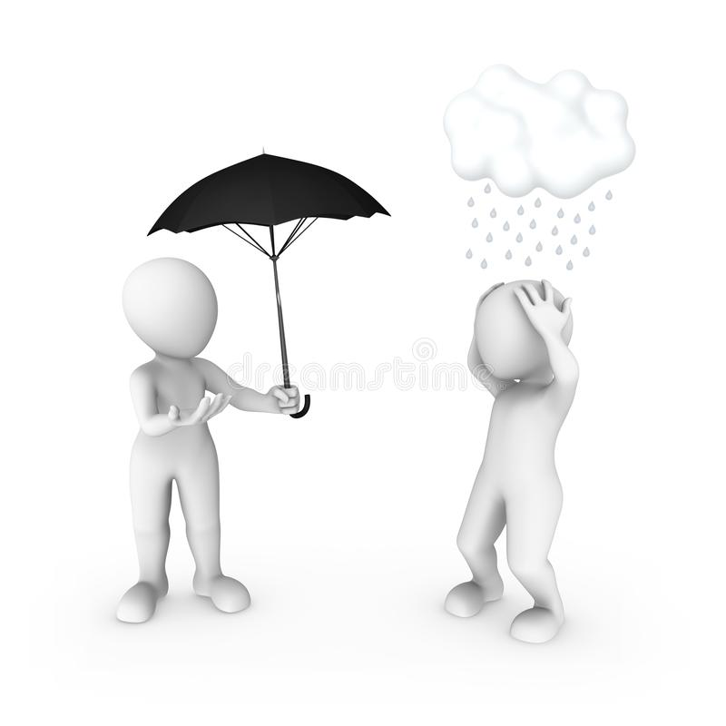 3d small people umbrella and rain. Help concept. 3d rendered illustration vector illustration
