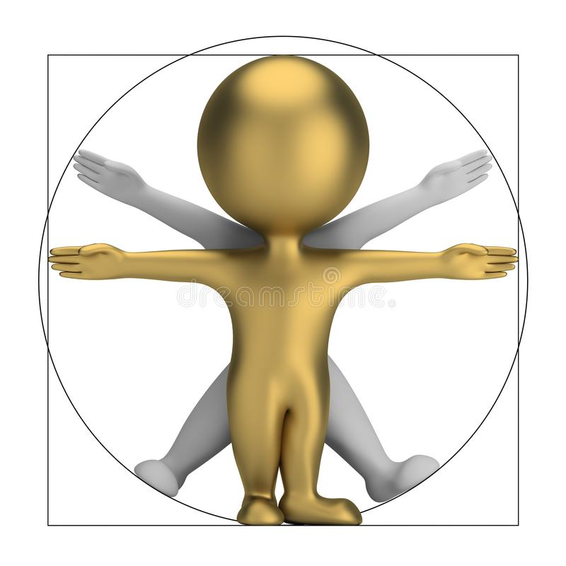 3d small people - vitruvian man royalty free illustration
