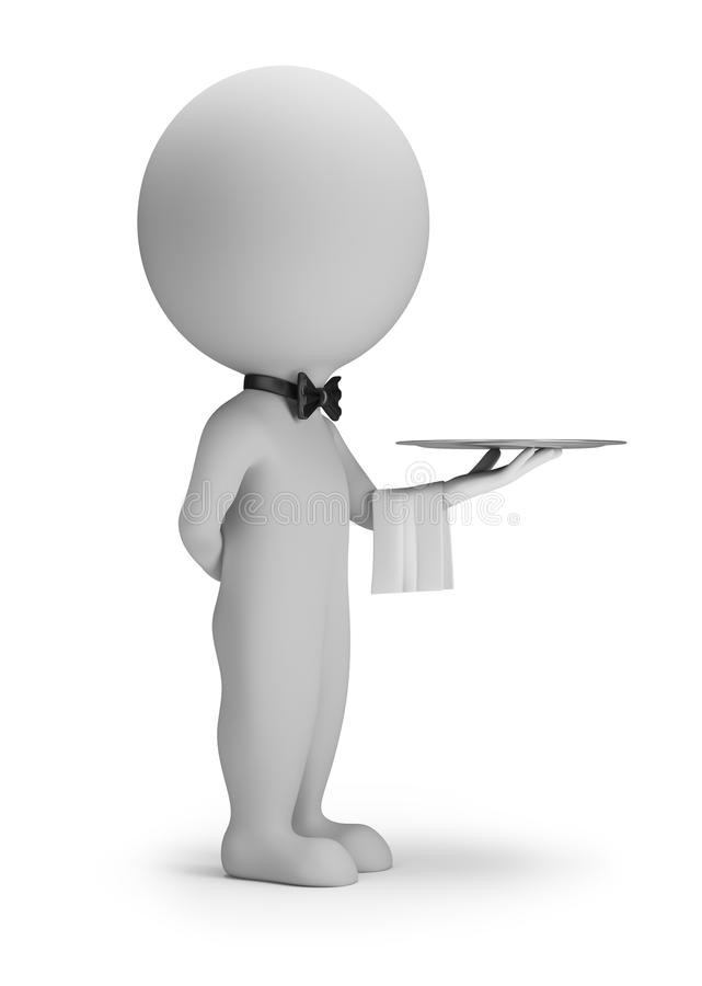 3d small people - waiter with tray royalty free illustration