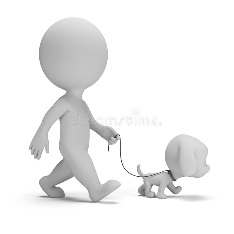 3d small people - walk the dog. 3d small man walking a little puppy. 3d image. White background